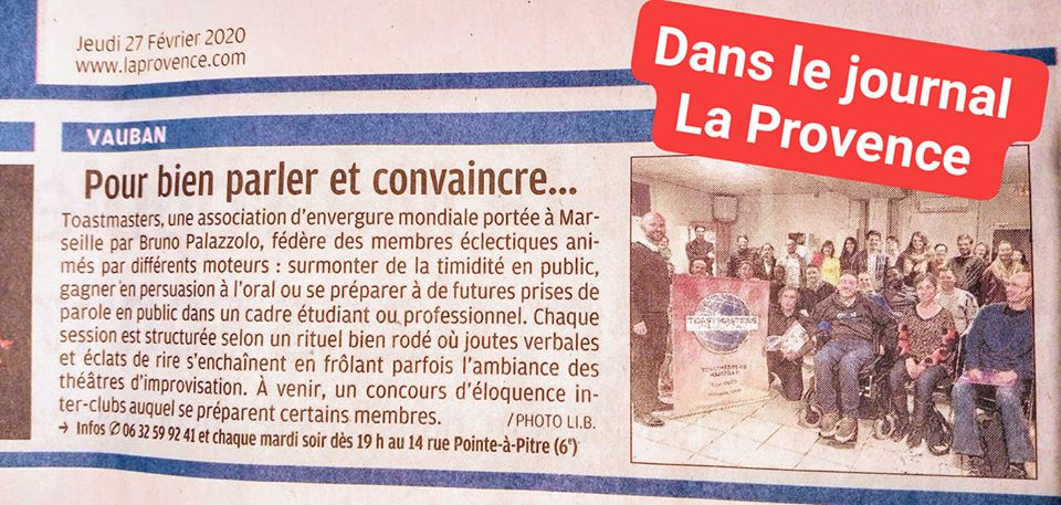 Le Club Toastmasters Marseille sur le Journal « La Provence »